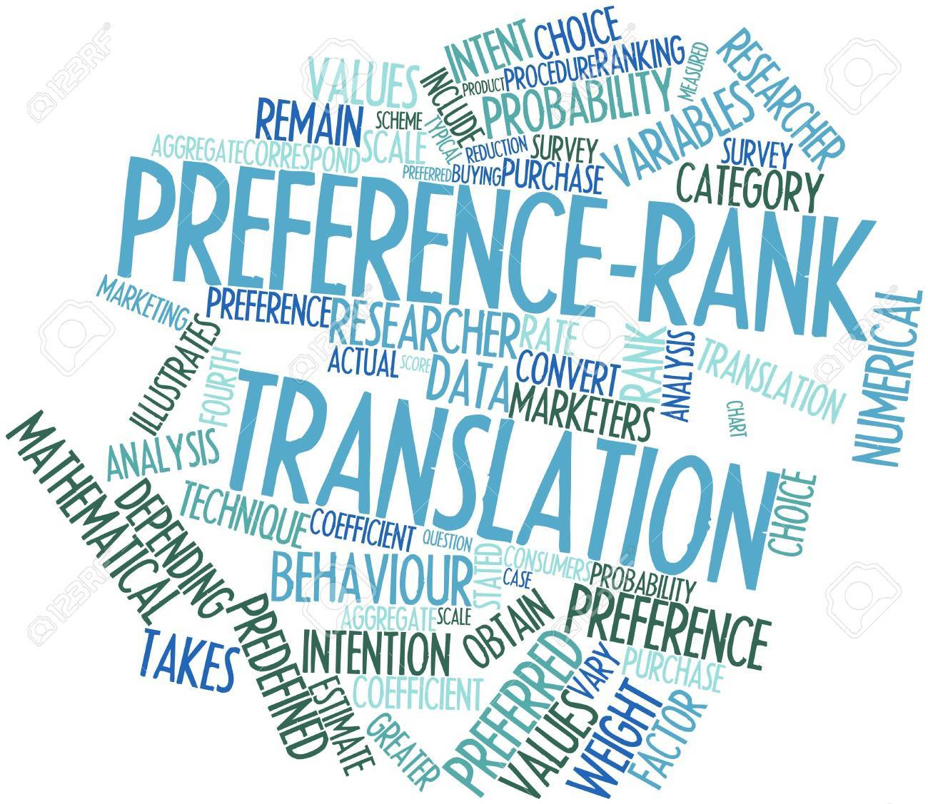 Abstract word cloud for Preference-rank translation with related tags and terms Stock Photo - 16049371