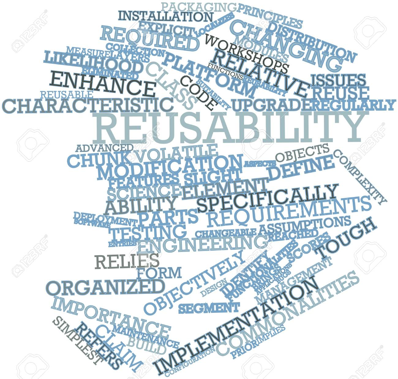Abstract word cloud for Reusability with related tags and terms Stock Photo - 16049581