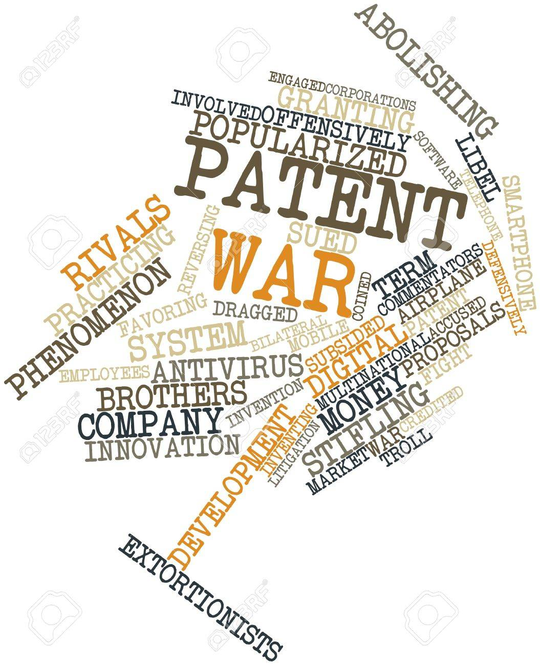 Abstract word cloud for Patent war with related tags and terms Stock Photo - 16084019