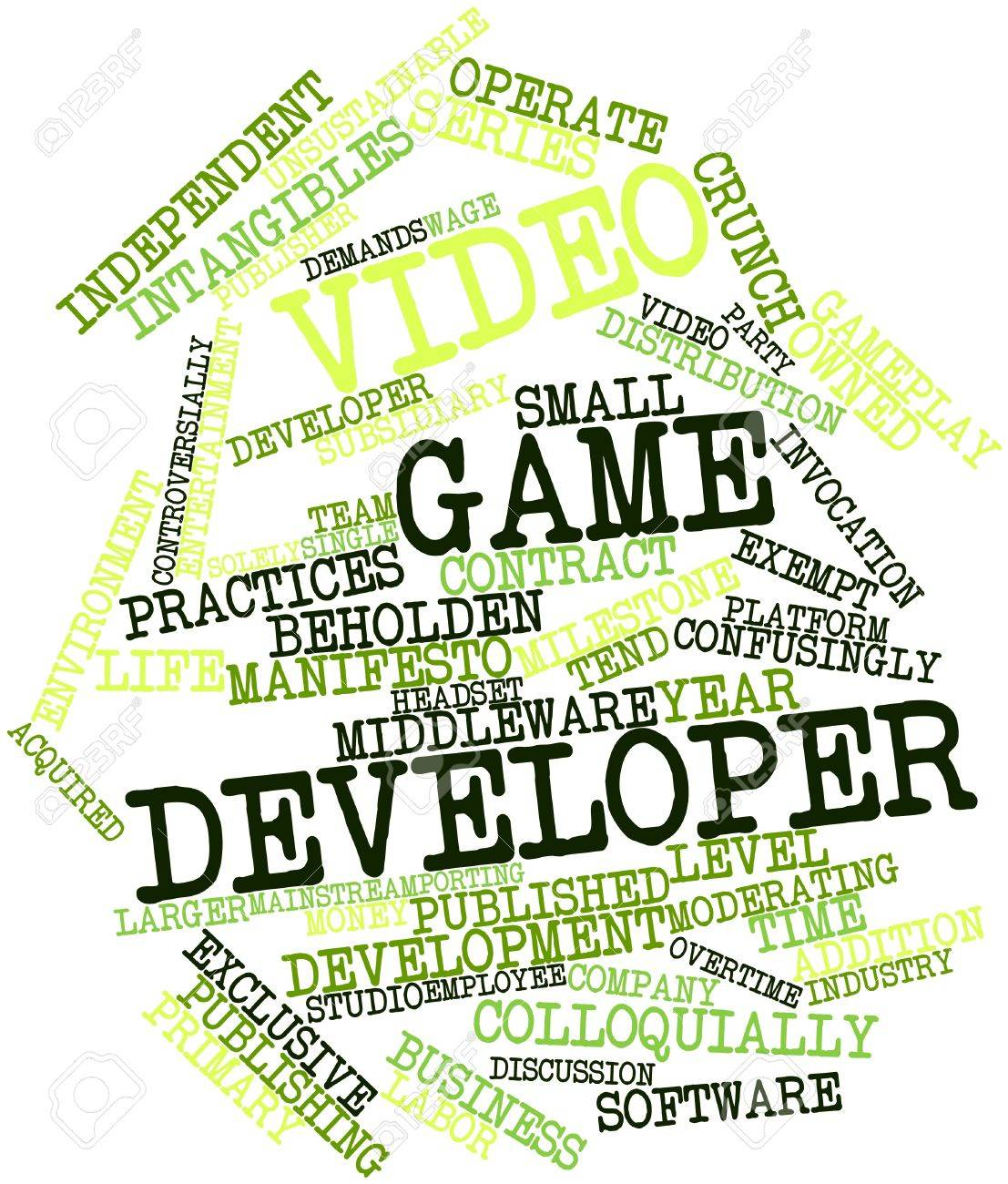 Abstract word cloud for Video game developer with related tags and terms Stock Photo - 16084196