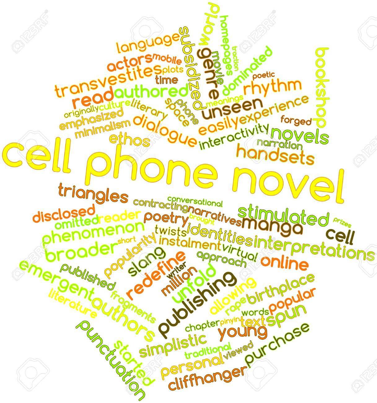 Nube Palabra Abstracta Para La Novela De Teléfono Celular Con Las ...