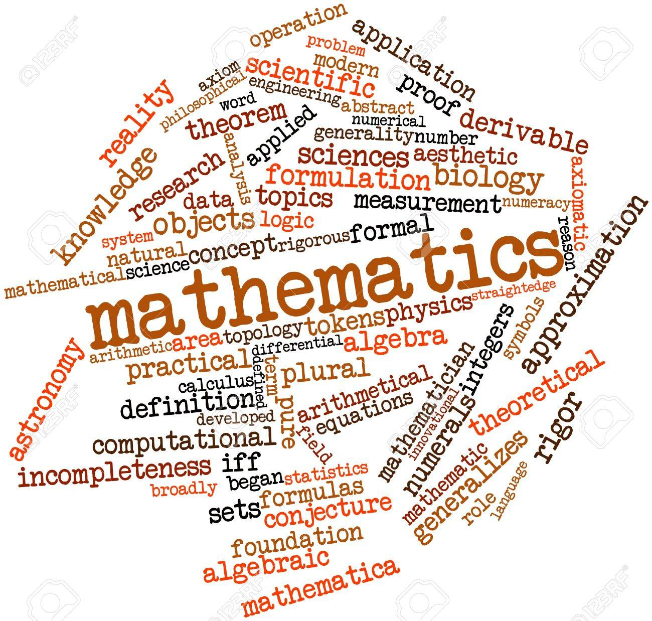 Abstract word cloud for Mathematics with related tags and terms Stock Photo - 16414047