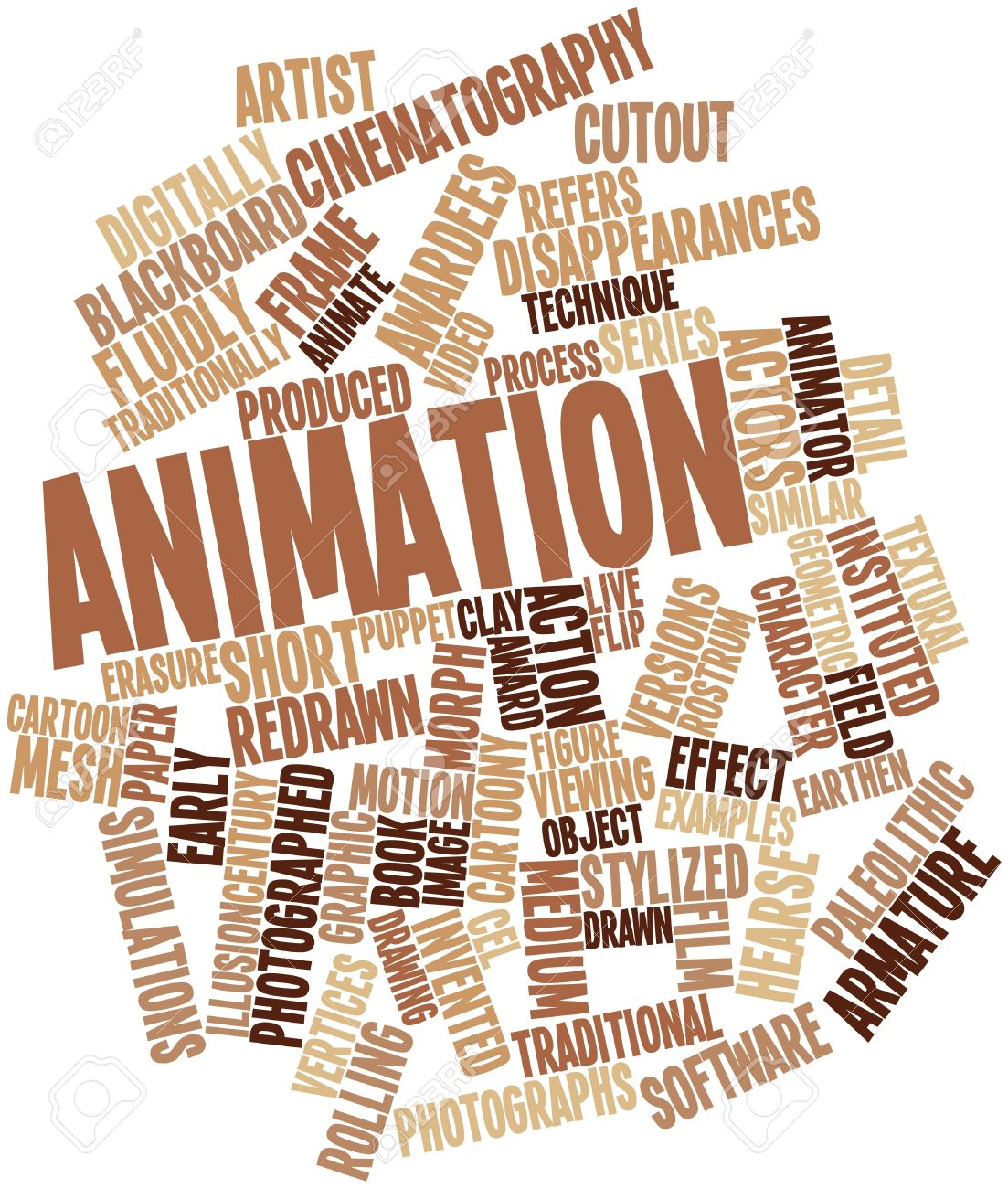 Abstract word cloud for animation with related tags and terms stock photo 16414253
