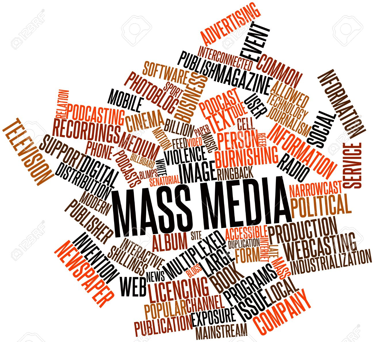 Abstract word cloud for Mass media with related tags and terms Stock Photo - 16414013