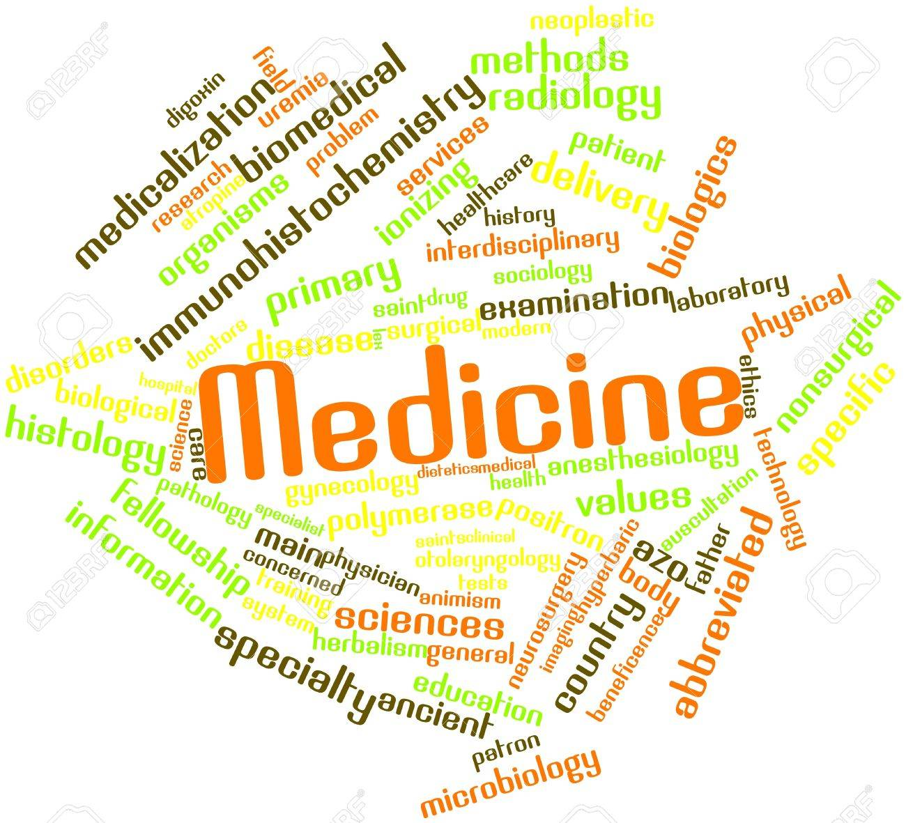 Abstract word cloud for Medicine with related tags and terms Stock Photo - 16414002