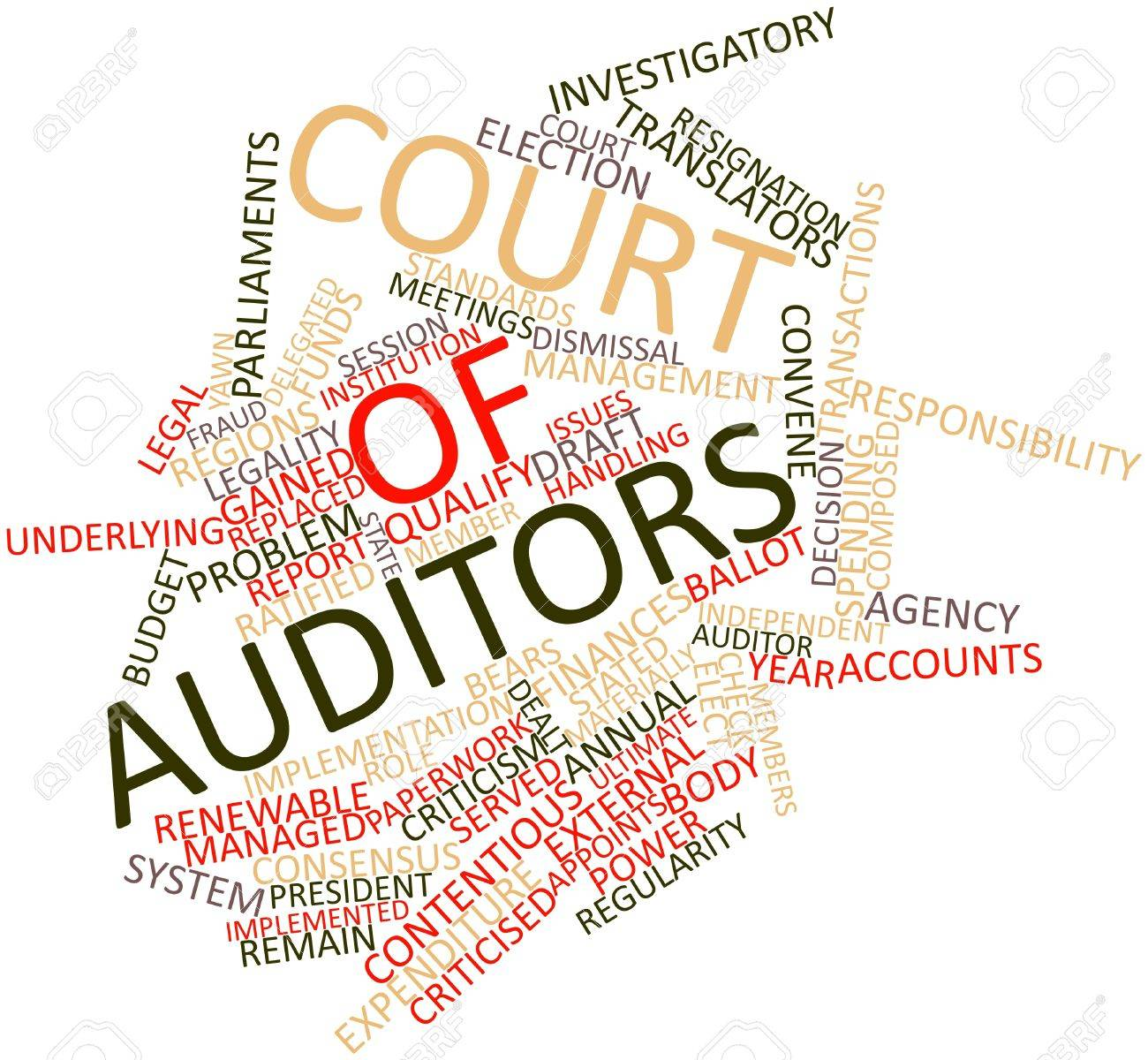 Abstract word cloud for Court of Auditors with related tags and terms Stock Photo - 16445969