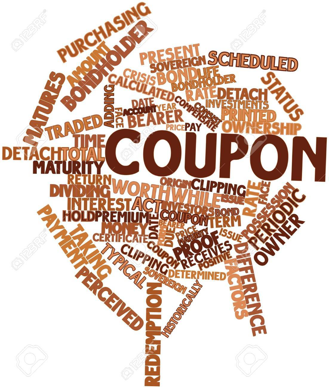 Abstract Word Cloud For Coupon With Related Tags And Terms Stock