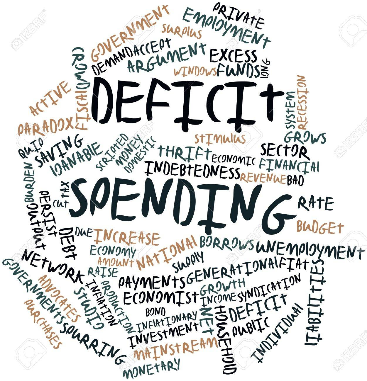 abstract word cloud for deficit spending with related tags and