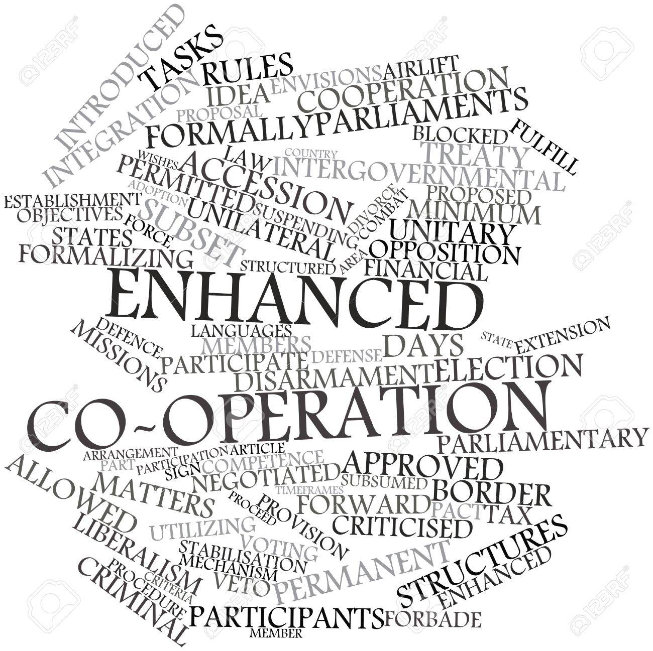 Abstract word cloud for Enhanced co-operation with related tags and terms Stock Photo - 16467970