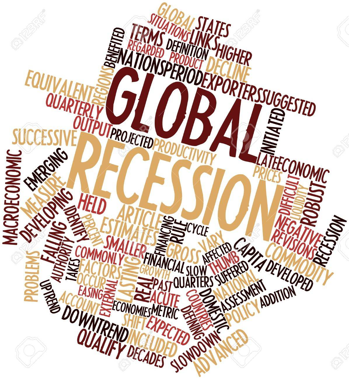 Abstract word cloud for Global recession with related tags and terms Stock Photo - 16468106