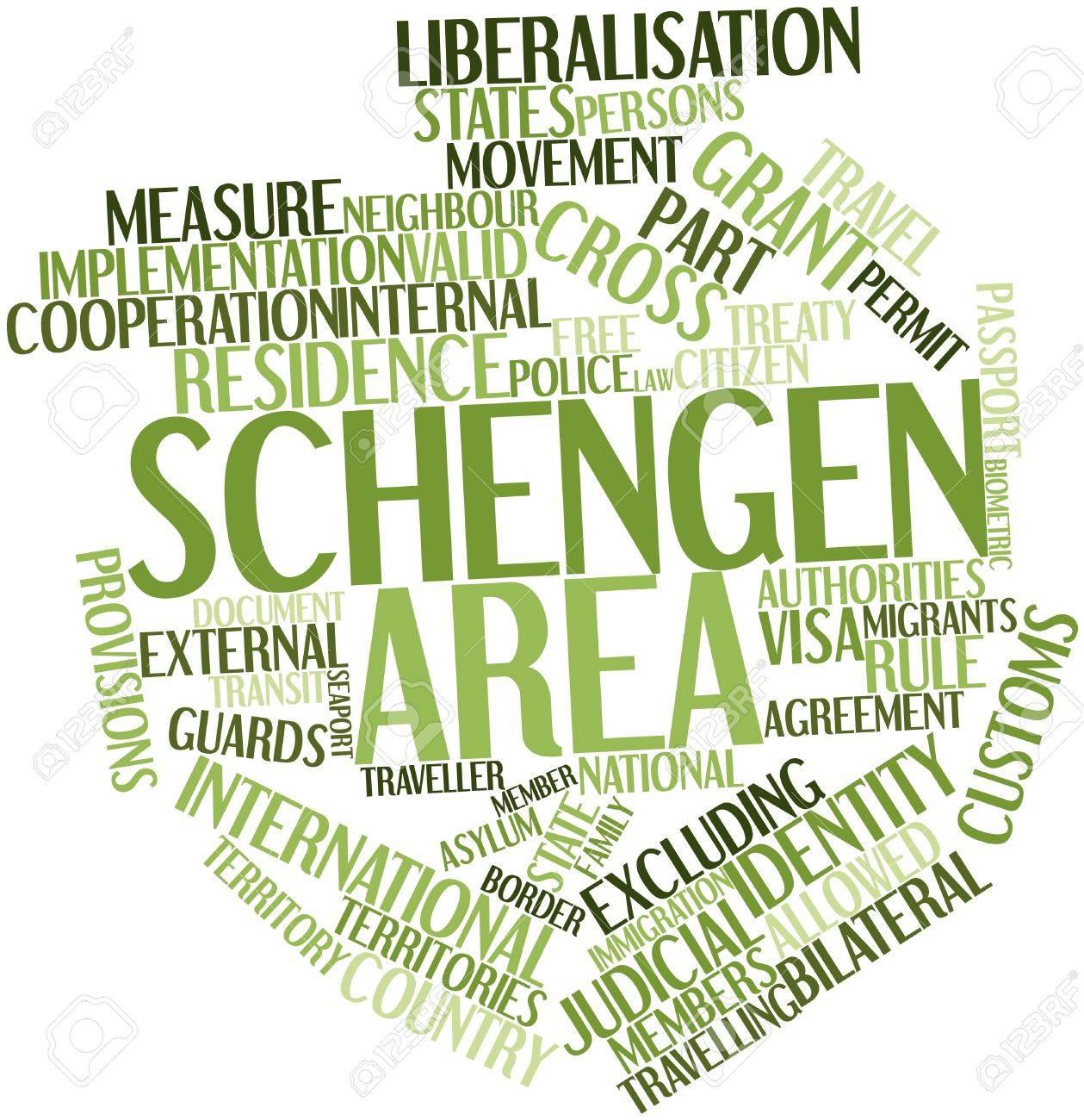 Erstaunlich Abstraktes Wort Wolke Für Schengen Raum Mit Verwandten Tags Und Begriffe  Standard Bild
