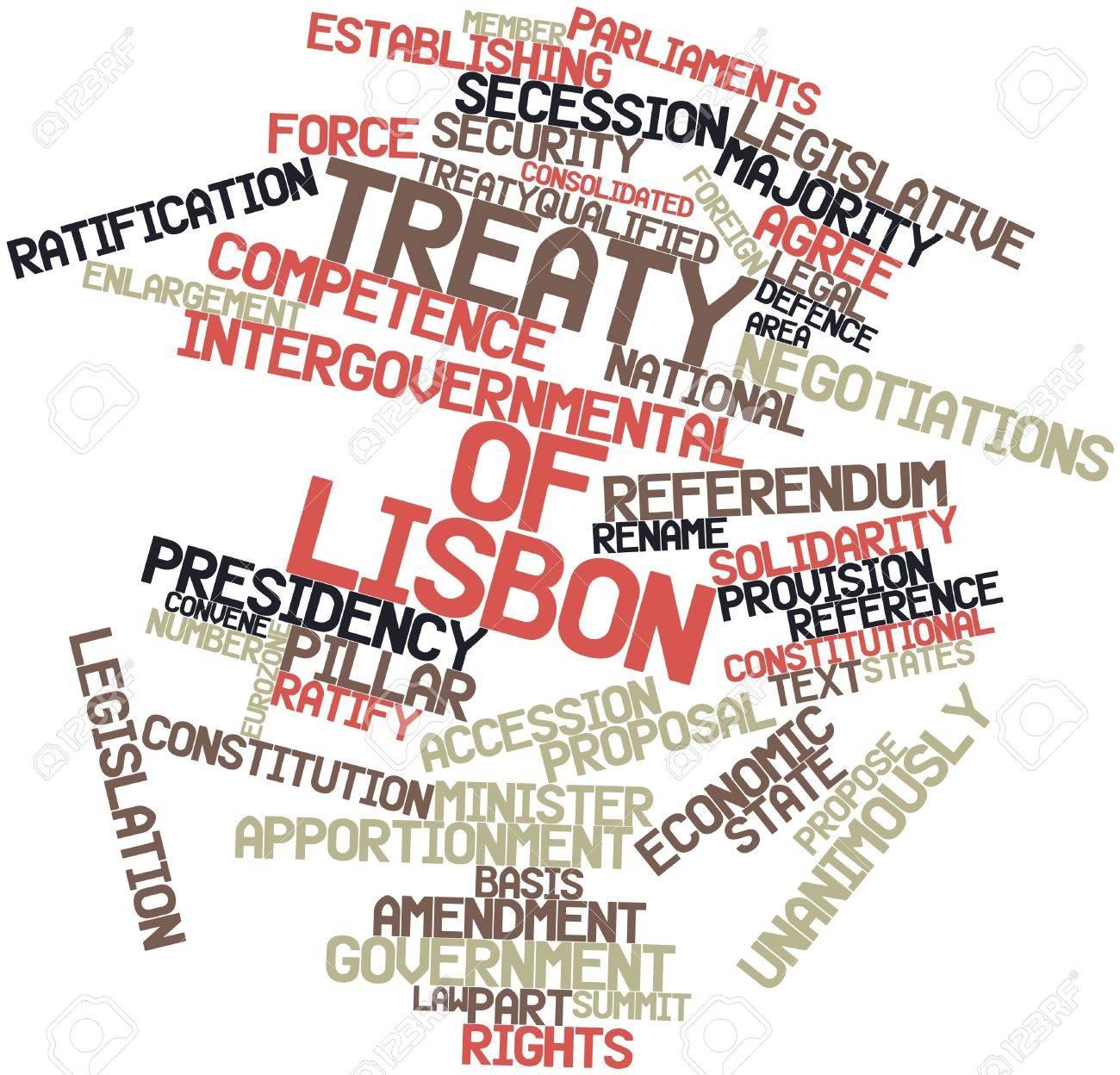 Abstraktes Wort Wolke Für Vertrag Von Lissabon Mit Verwandte Tags