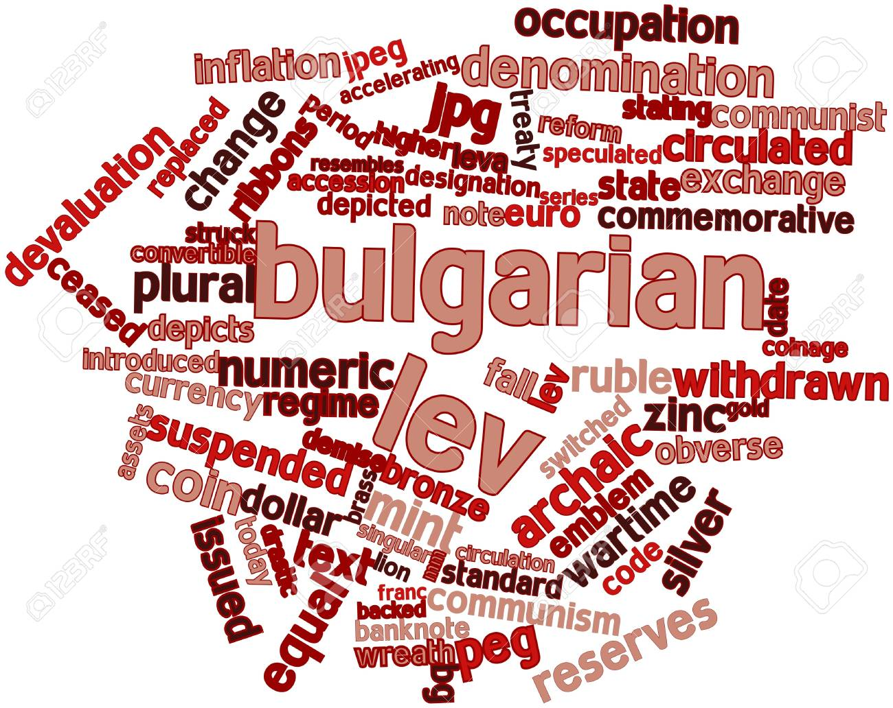 Abstract word cloud for Bulgarian lev with related tags and terms Stock Photo - 16468060