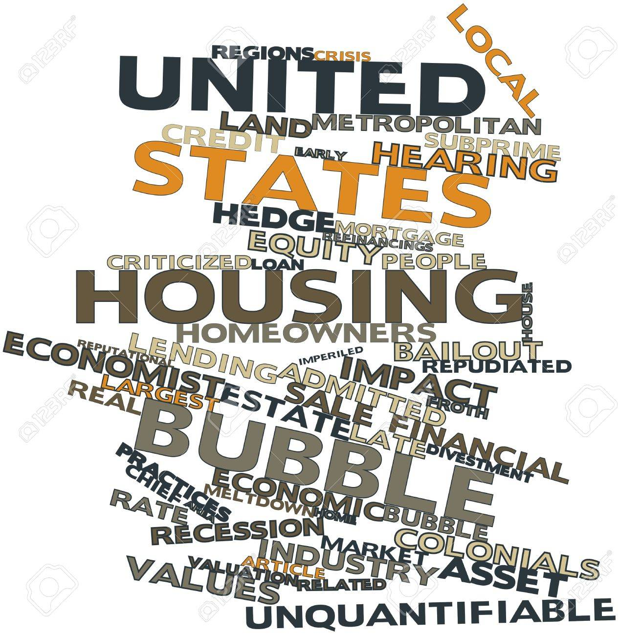Abstract word cloud for United States housing bubble with related tags and terms Stock Photo - 16468016