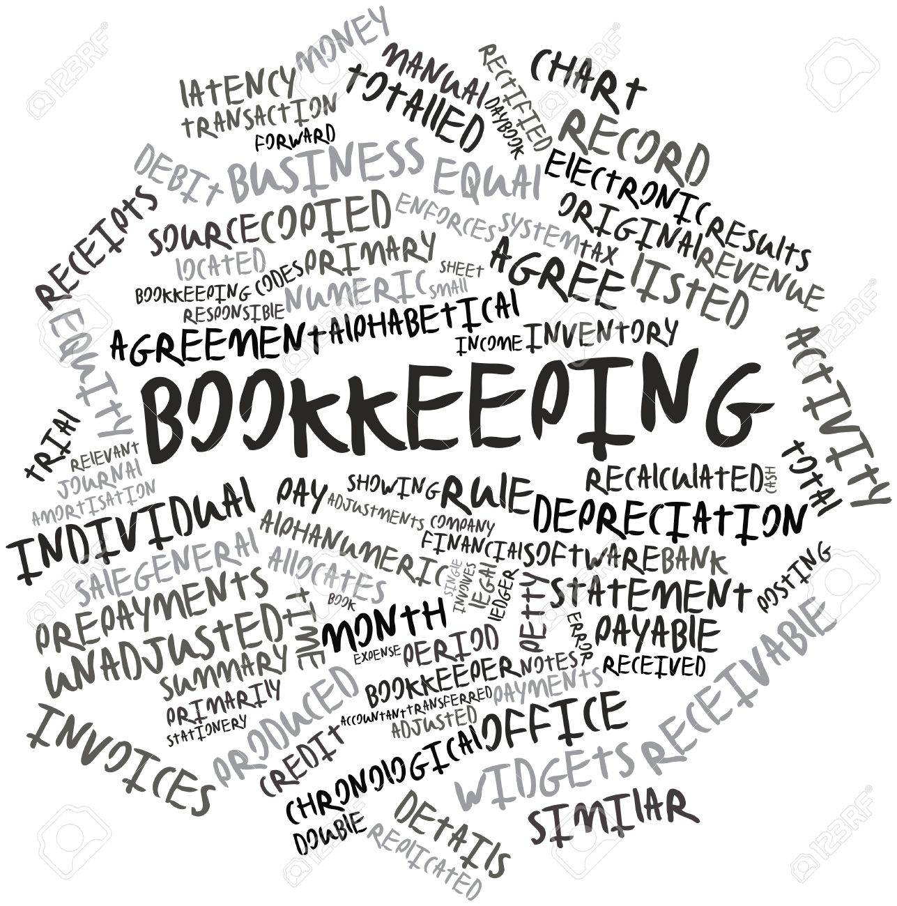 Abstract word cloud for Bookkeeping with related tags and terms Stock Photo - 16489186