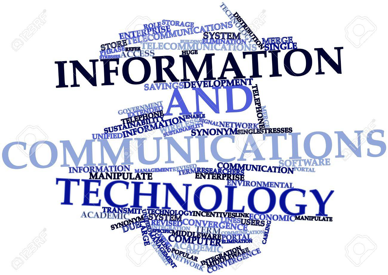 abstract word cloud for information and communications technology abstract word cloud for information and communications technology related tags and terms stock photo