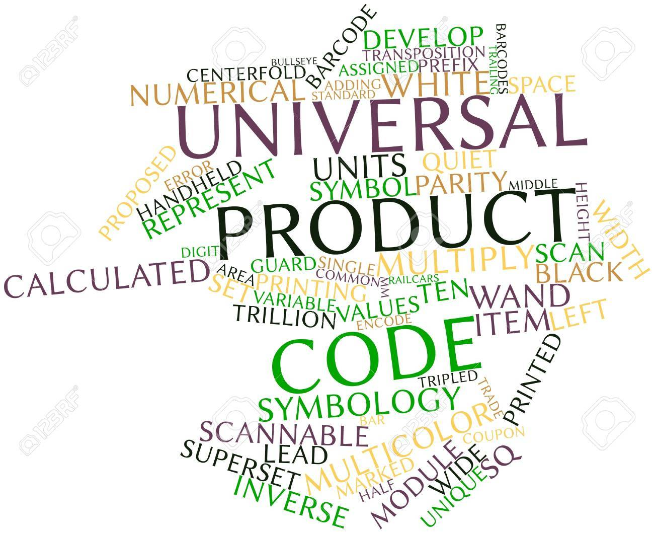 Abstract word cloud for Universal Product Code with related tags and terms Stock Photo - 16488960