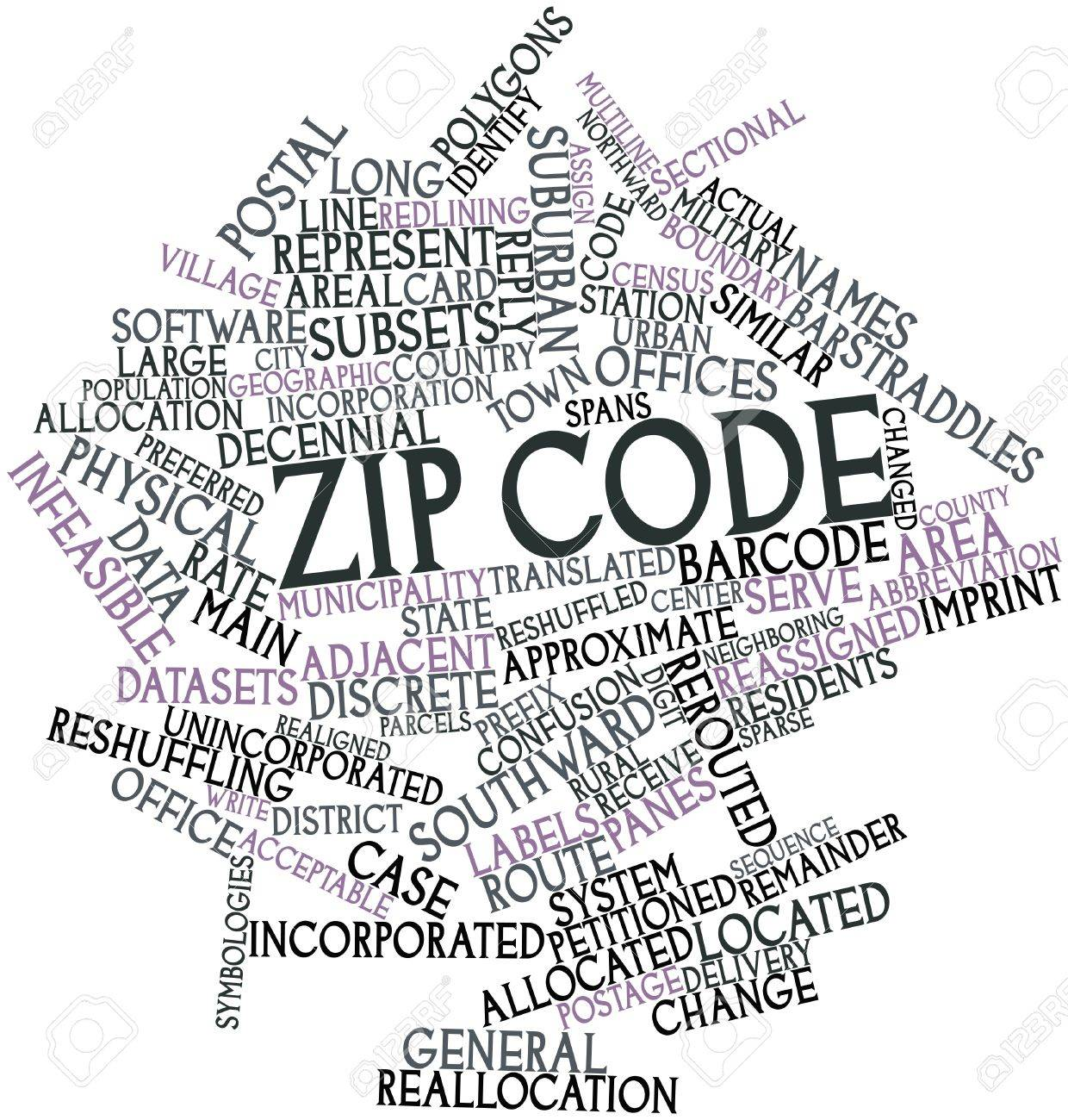 Abstract word cloud for ZIP code with related tags and terms Stock Photo - 16489281