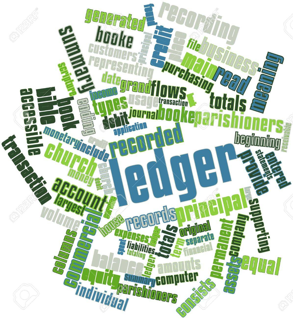 Abstract word cloud for Ledger with related tags and terms Stock Photo - 16499185