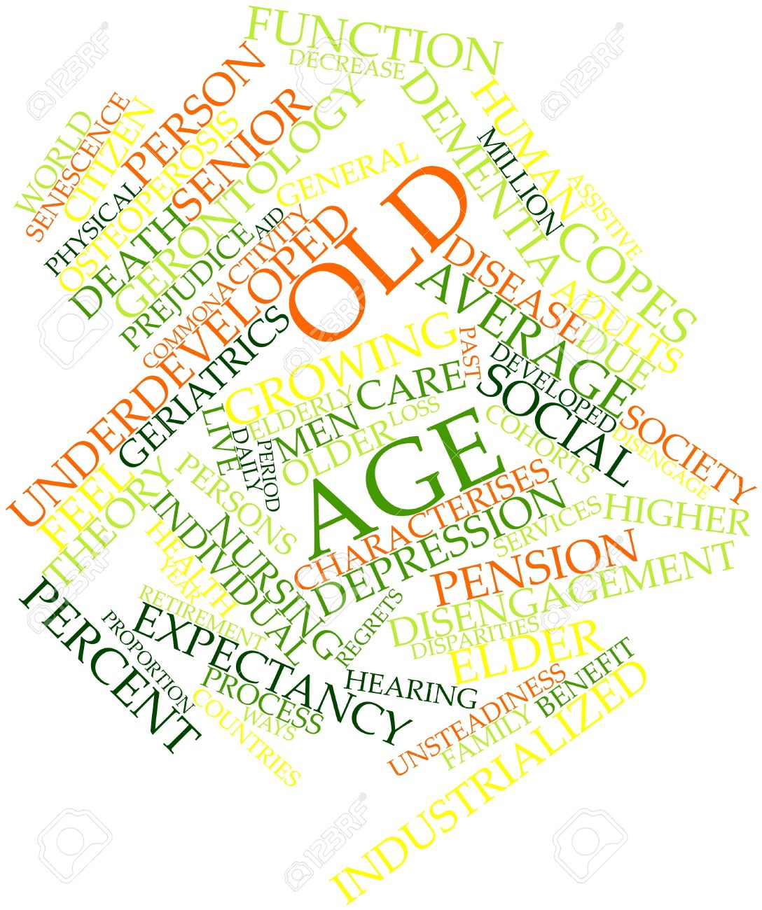 Abstract word cloud for Old age with related tags and terms Stock Photo - 16500422