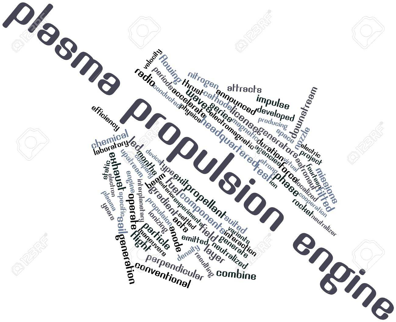 Abstract word cloud for Plasma propulsion engine with related