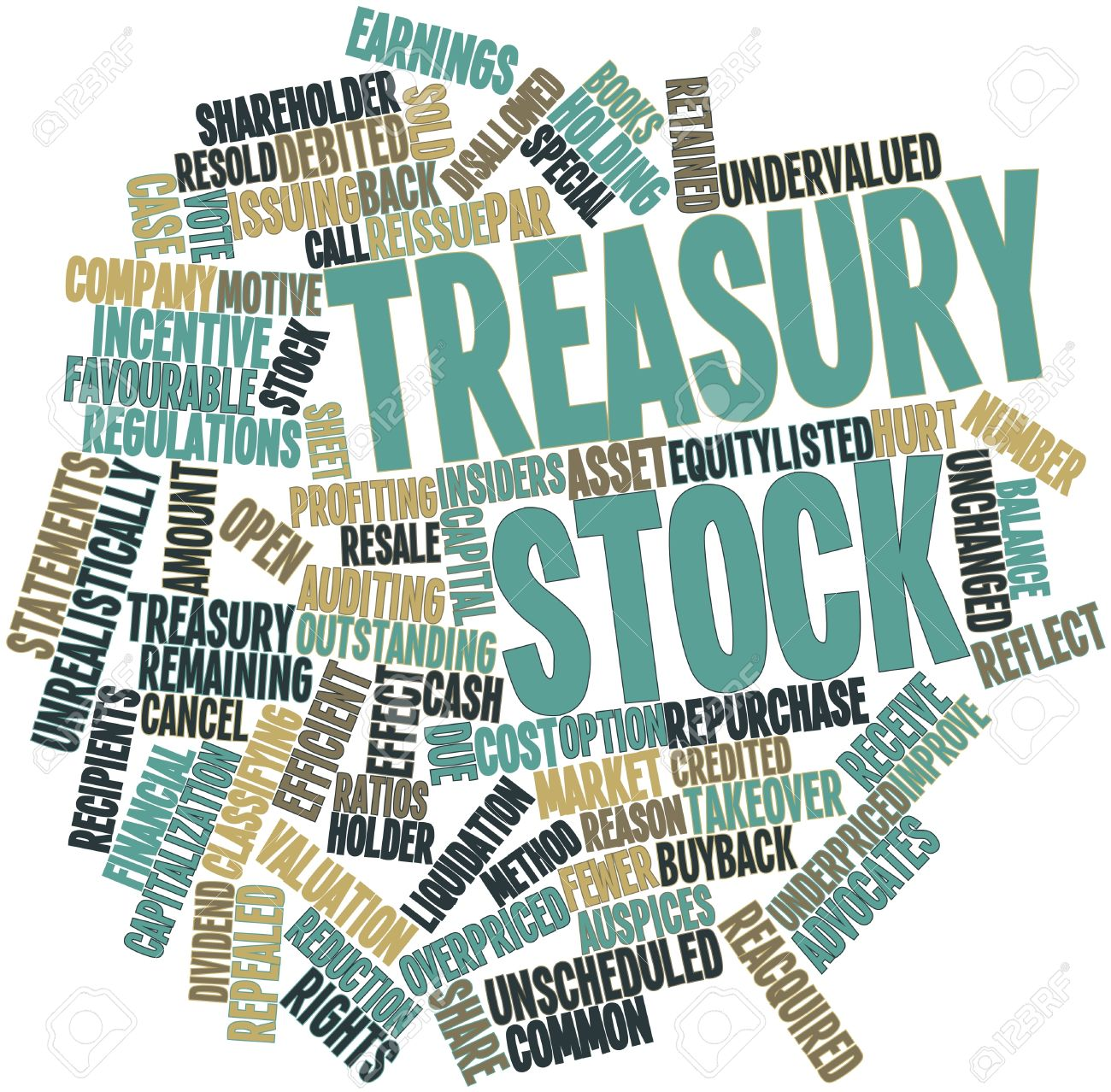 Abstract word cloud for Treasury stock with related tags and