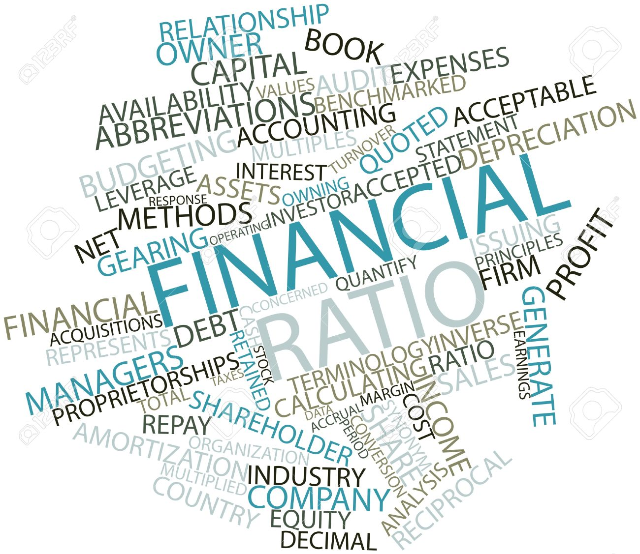 abstract word cloud for financial ratio with related tags and terms stock photo 16502132