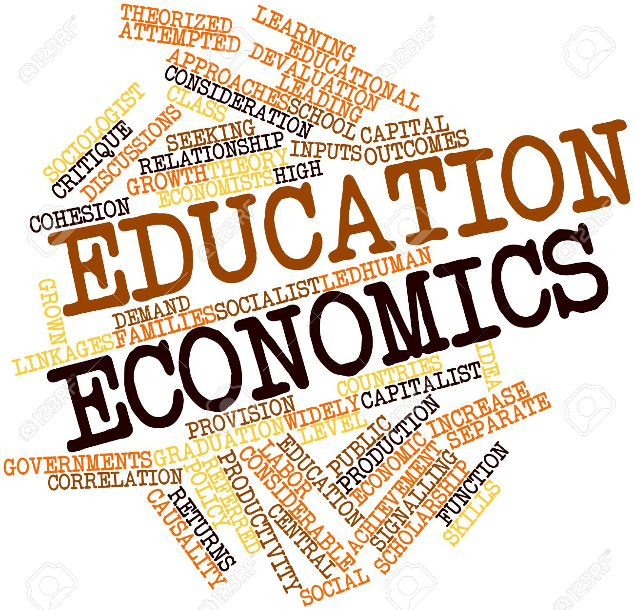 Abstract word cloud for Education economics with related tags and terms Stock Photo - 16502573