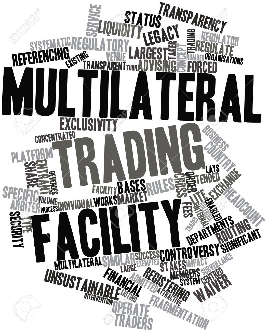 Abstract word cloud for Multilateral trading facility with related tags and terms Stock Photo - 16501597