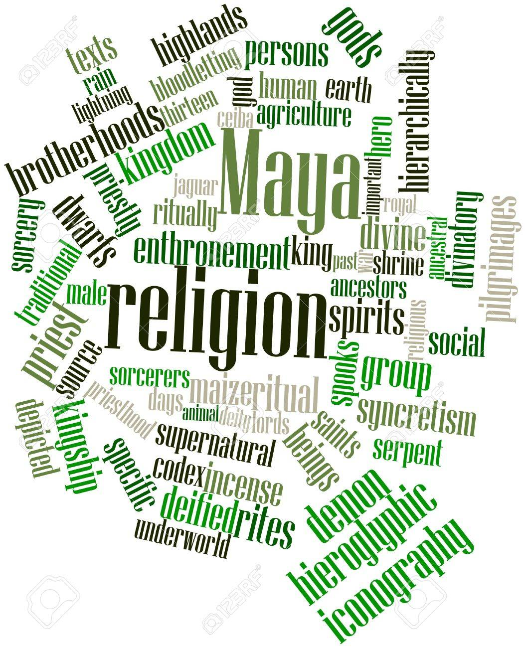 Abstract word cloud for Maya religion with related tags and terms Stock Photo - 16529762