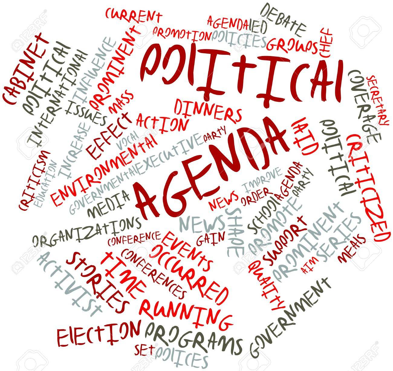 Abstract word cloud for Political agenda with related tags and terms Stock Photo - 16529826