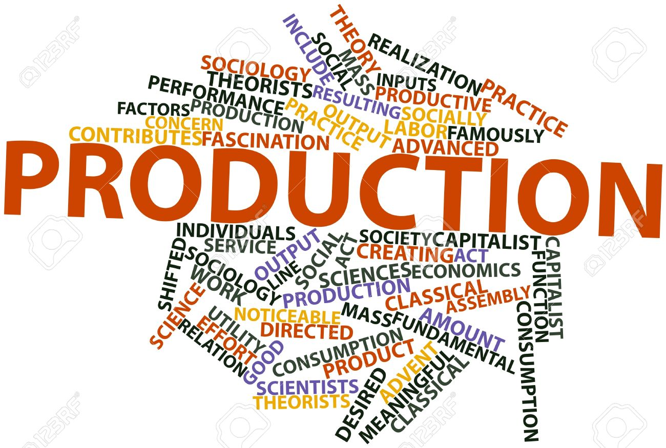 Abstract word cloud for Production with related tags and terms Stock Photo - 16527710