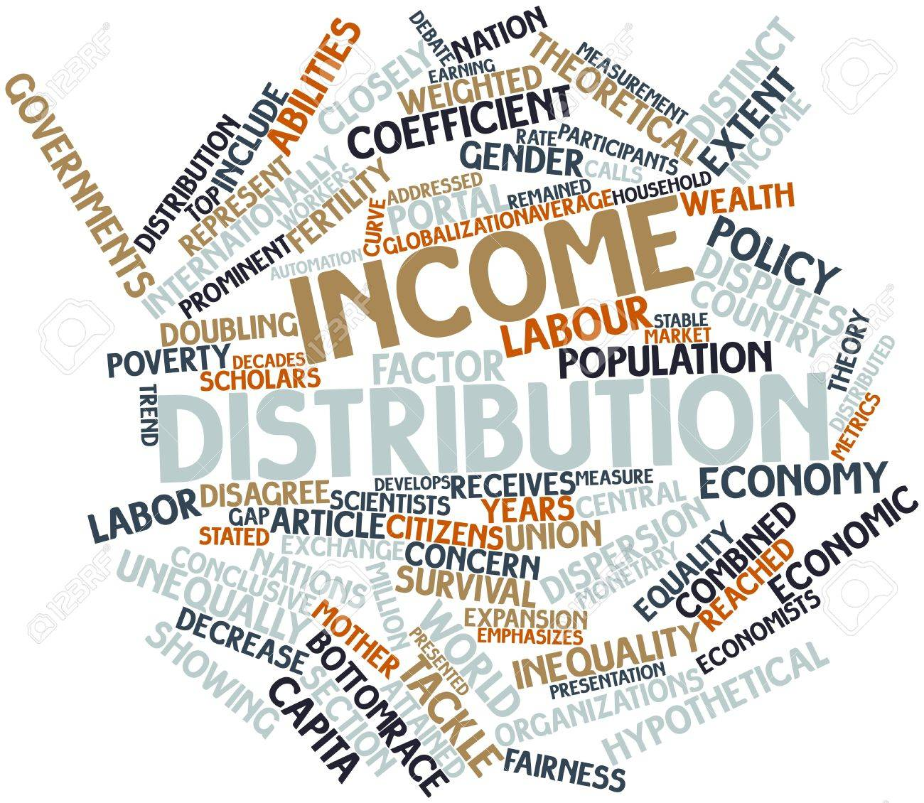 Abstract word cloud for Income distribution with related tags and terms Stock Photo - 16529740