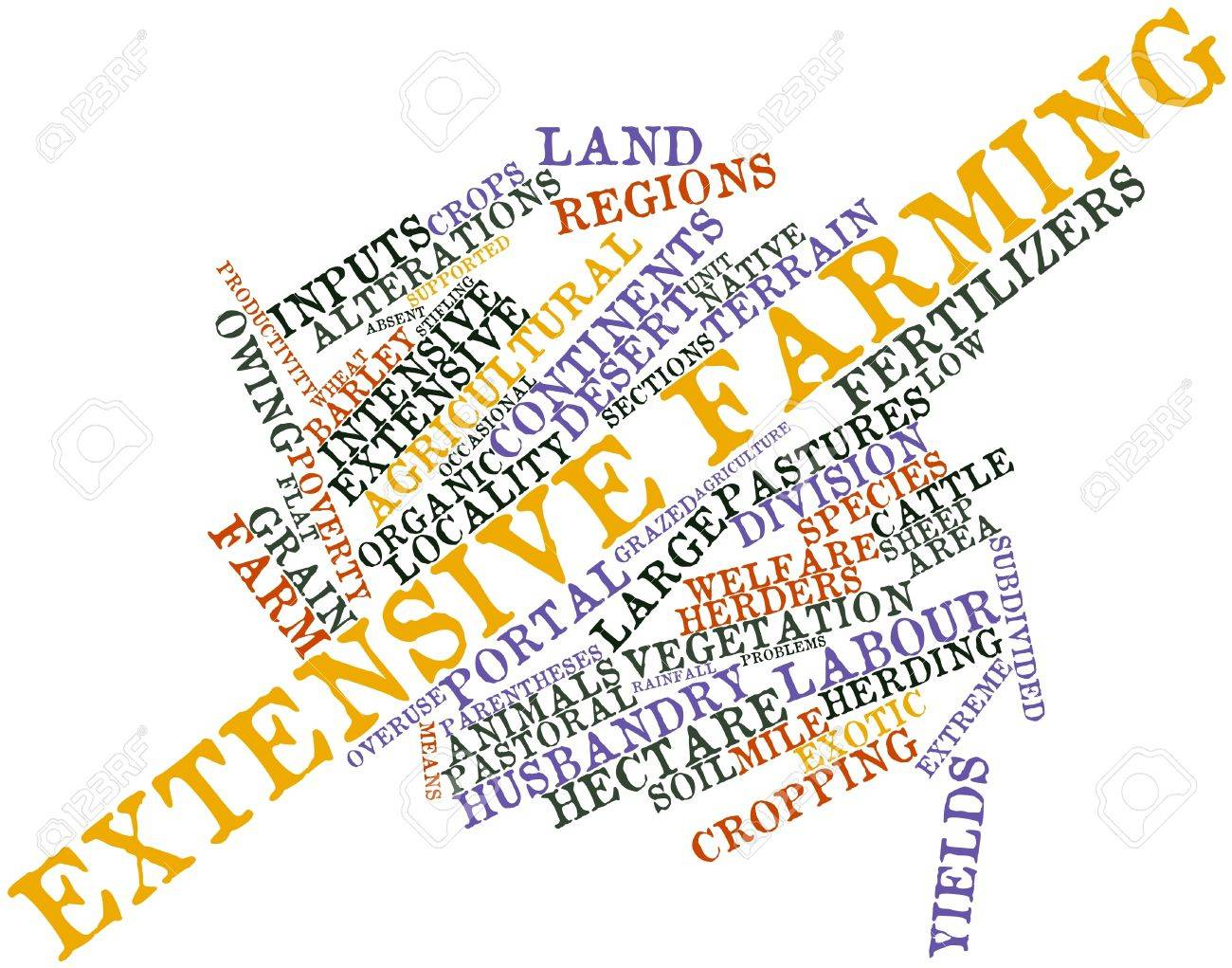 Abstract word cloud for Extensive farming with related tags and terms Stock Photo - 16559630