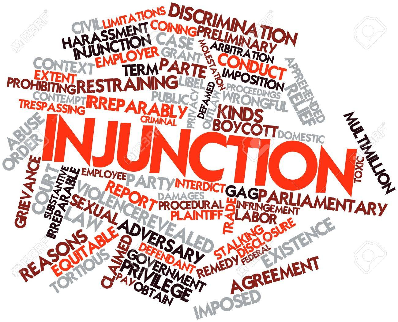 Abstract word cloud for Injunction with related tags and terms Stock Photo - 16571906