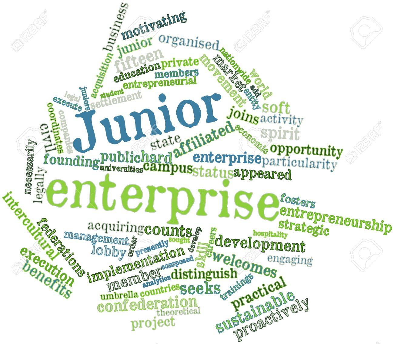 Abstract word cloud for Junior enterprise with related tags and terms Stock Photo - 16571900