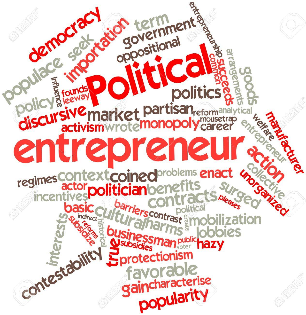 Abstract word cloud for Political entrepreneur with related tags and terms Stock Photo - 16572056