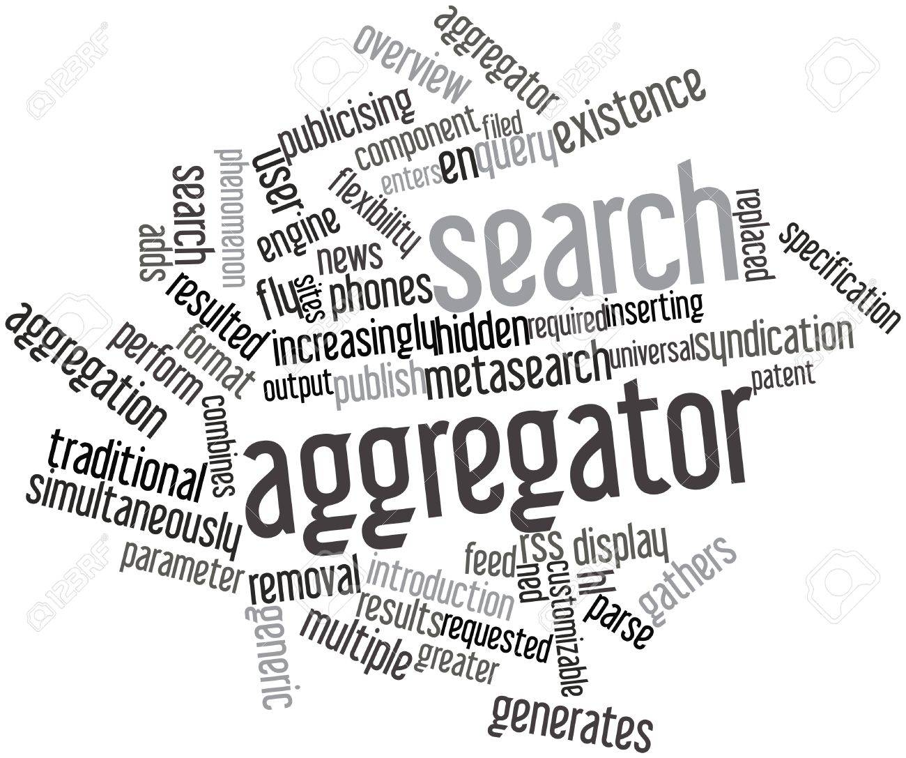 abstract word cloud for search aggregator with related tags and