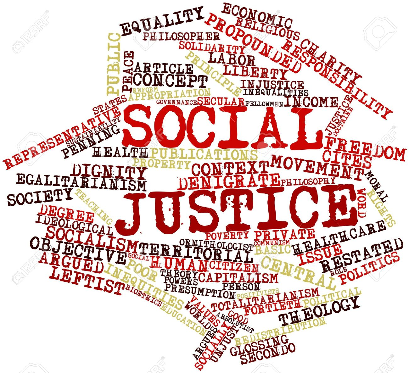 abstract word cloud for social justice with related tags and stock