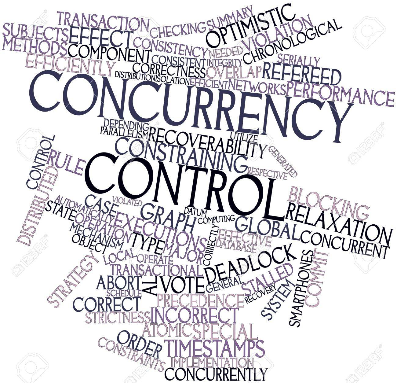 Abstract word cloud for Concurrency control with related tags and terms Stock Photo - 16578712