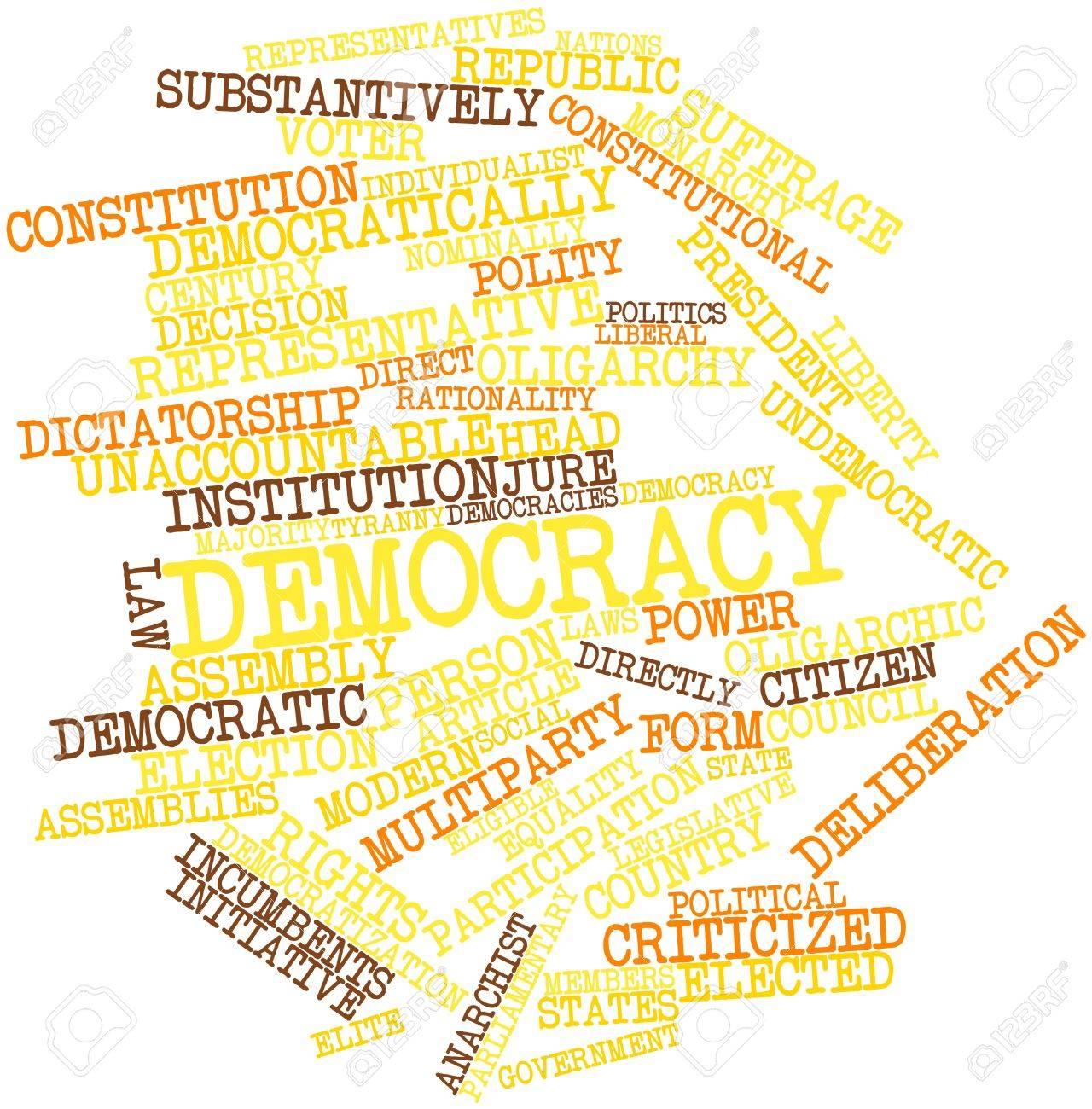 Abstract word cloud for Democracy with related tags and terms Stock Photo - 16578856