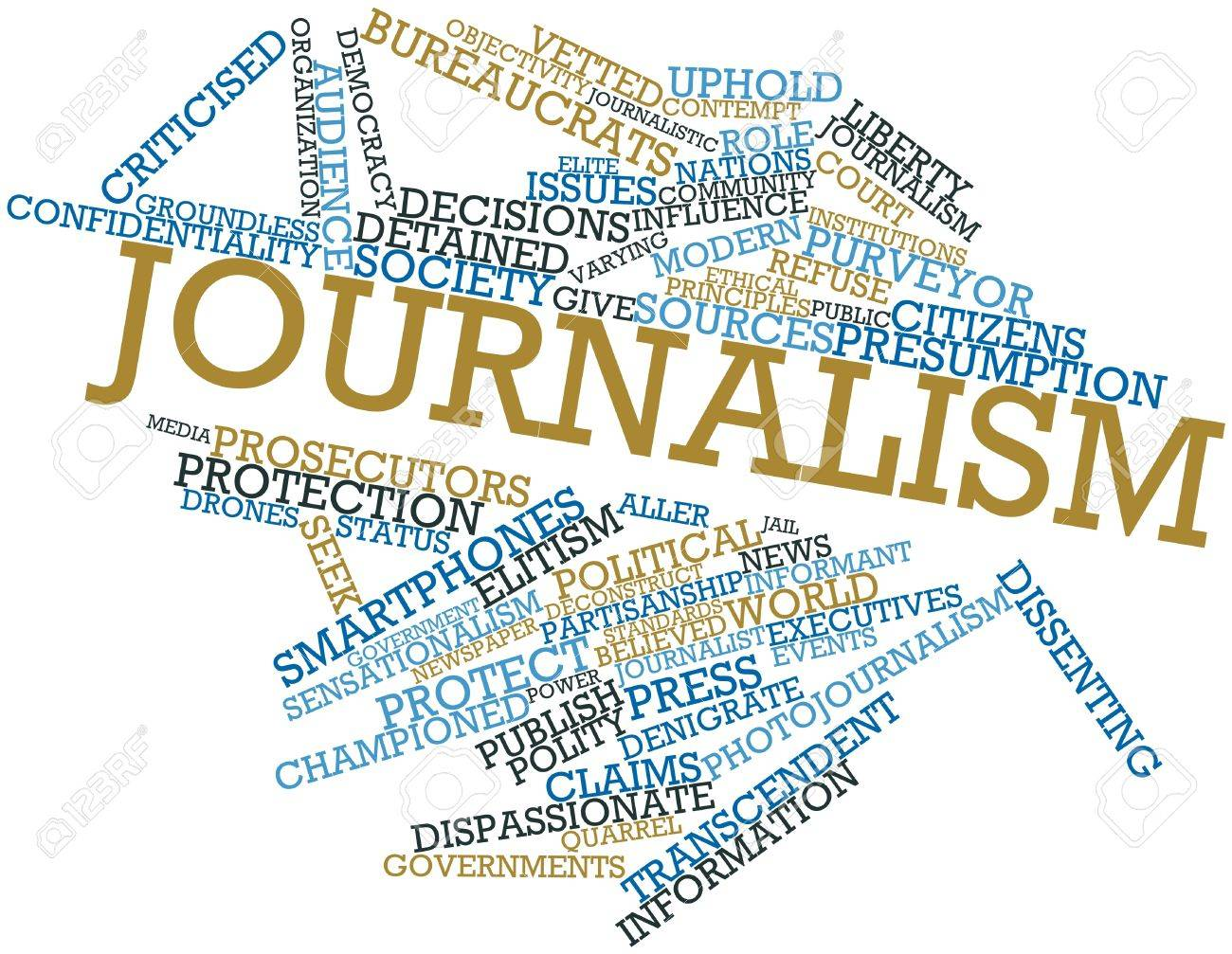 Abstract word cloud for Journalism with related tags and terms Stock Photo - 16579176
