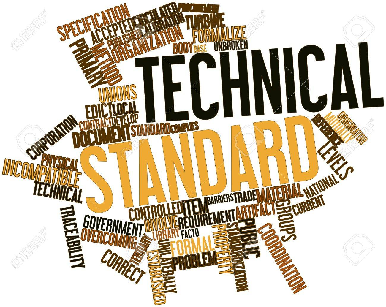 abstract word cloud for technical standard with related tags stock