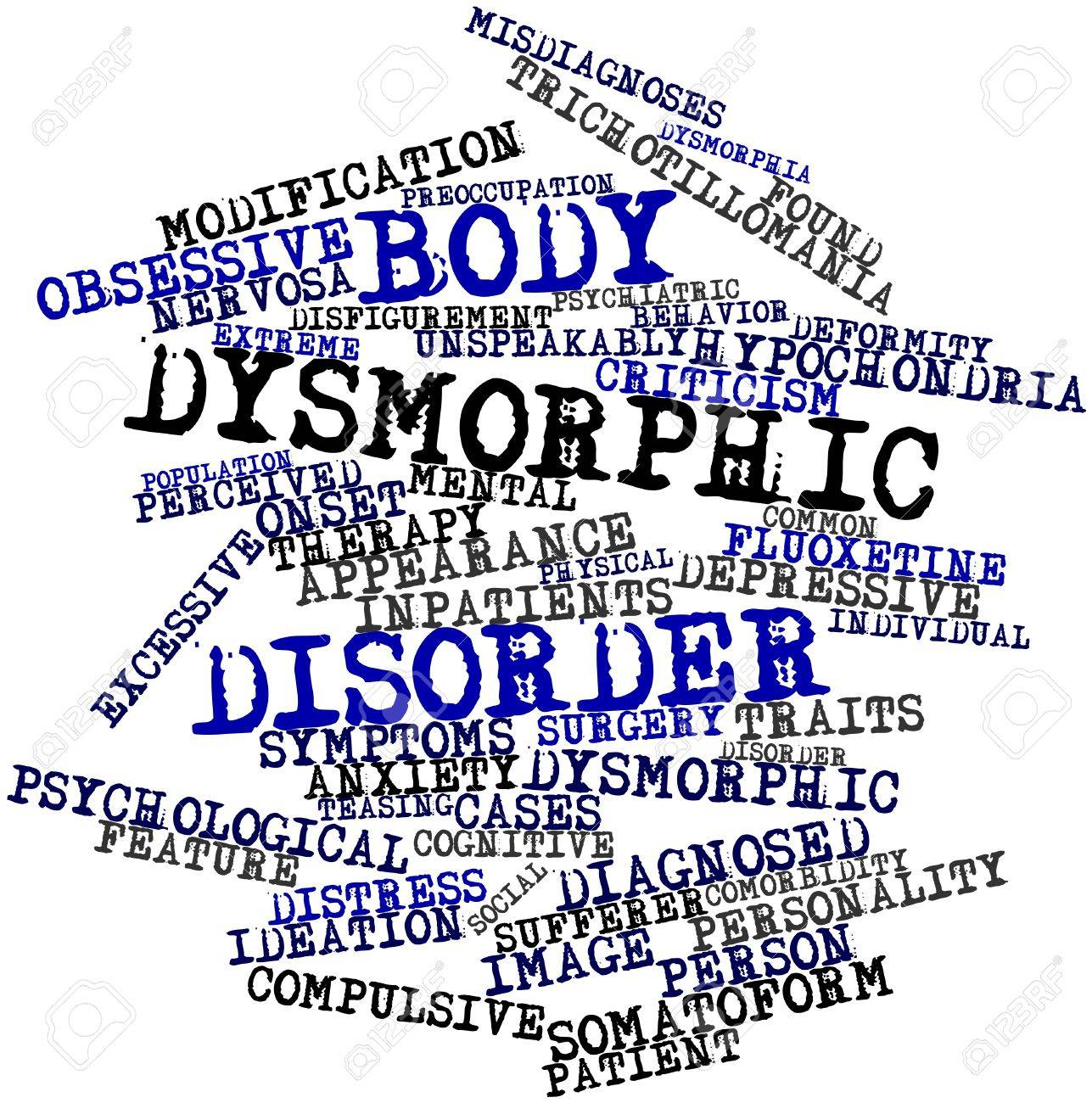 Abstract word cloud for Body dysmorphic disorder with related tags and terms Stock Photo - 16603354