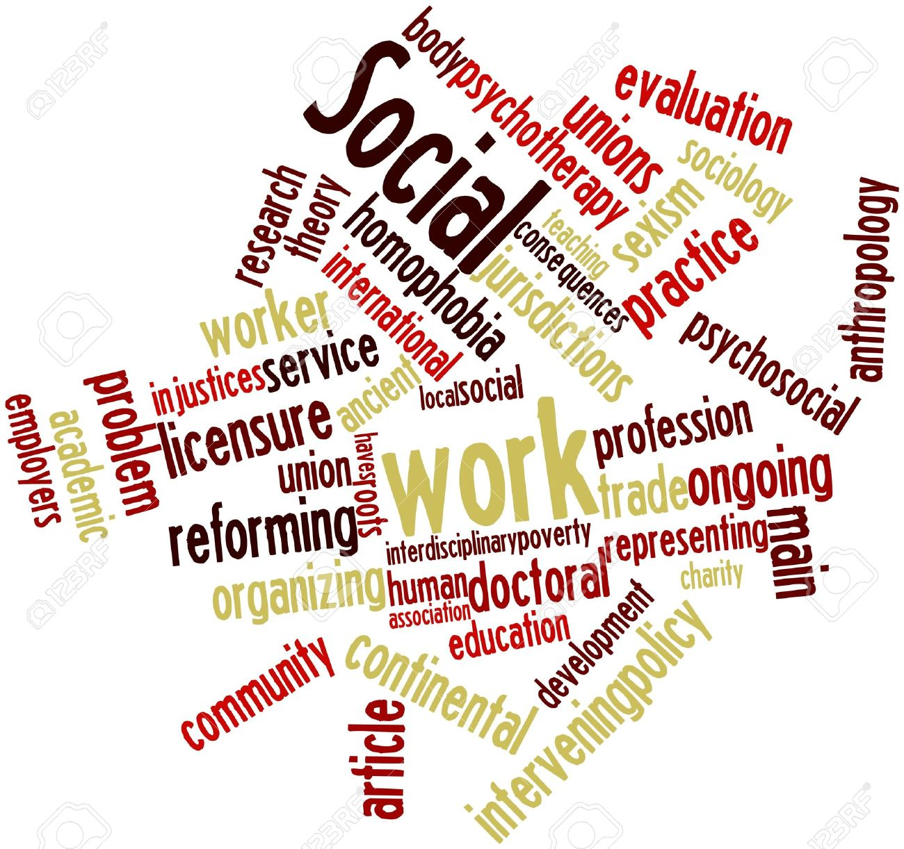 abstract word cloud for social work with related tags and terms