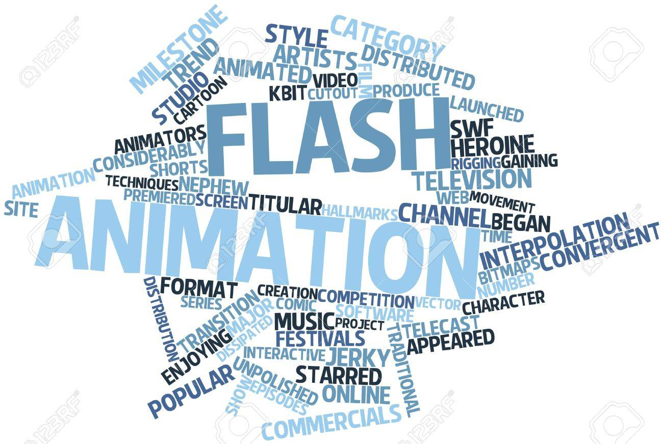 Abstract word cloud for flash animation with related tags and terms stock photo 16617499