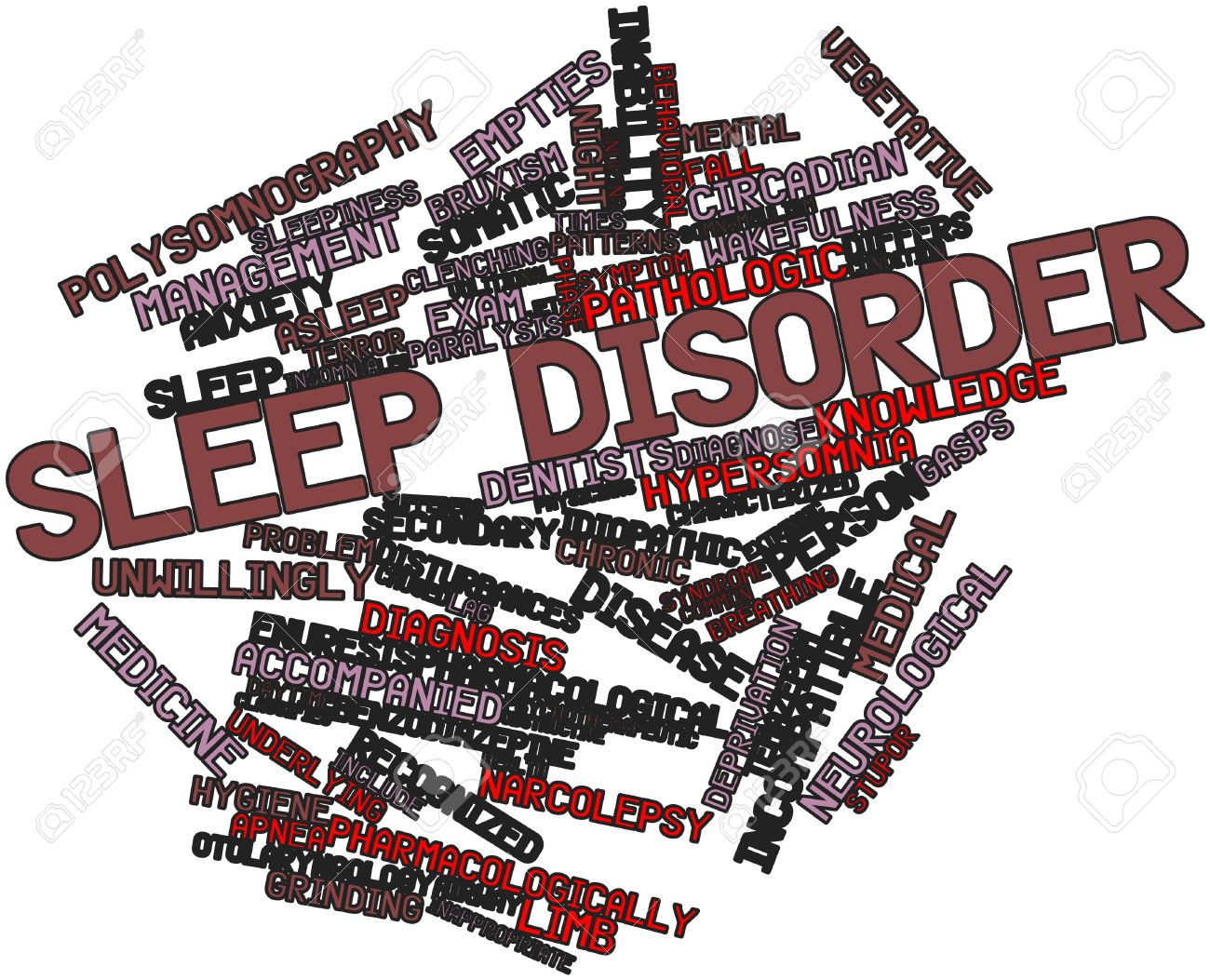 Abstract word cloud for Sleep disorder with related tags and terms Stock Photo - 16617618