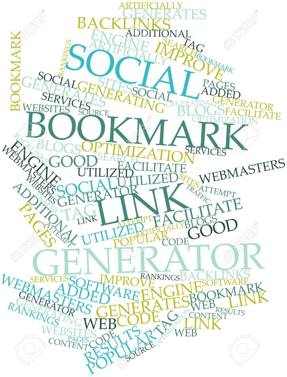 Abstract word cloud for Social bookmark link generator with related tags and terms Stock Photo - 16617560
