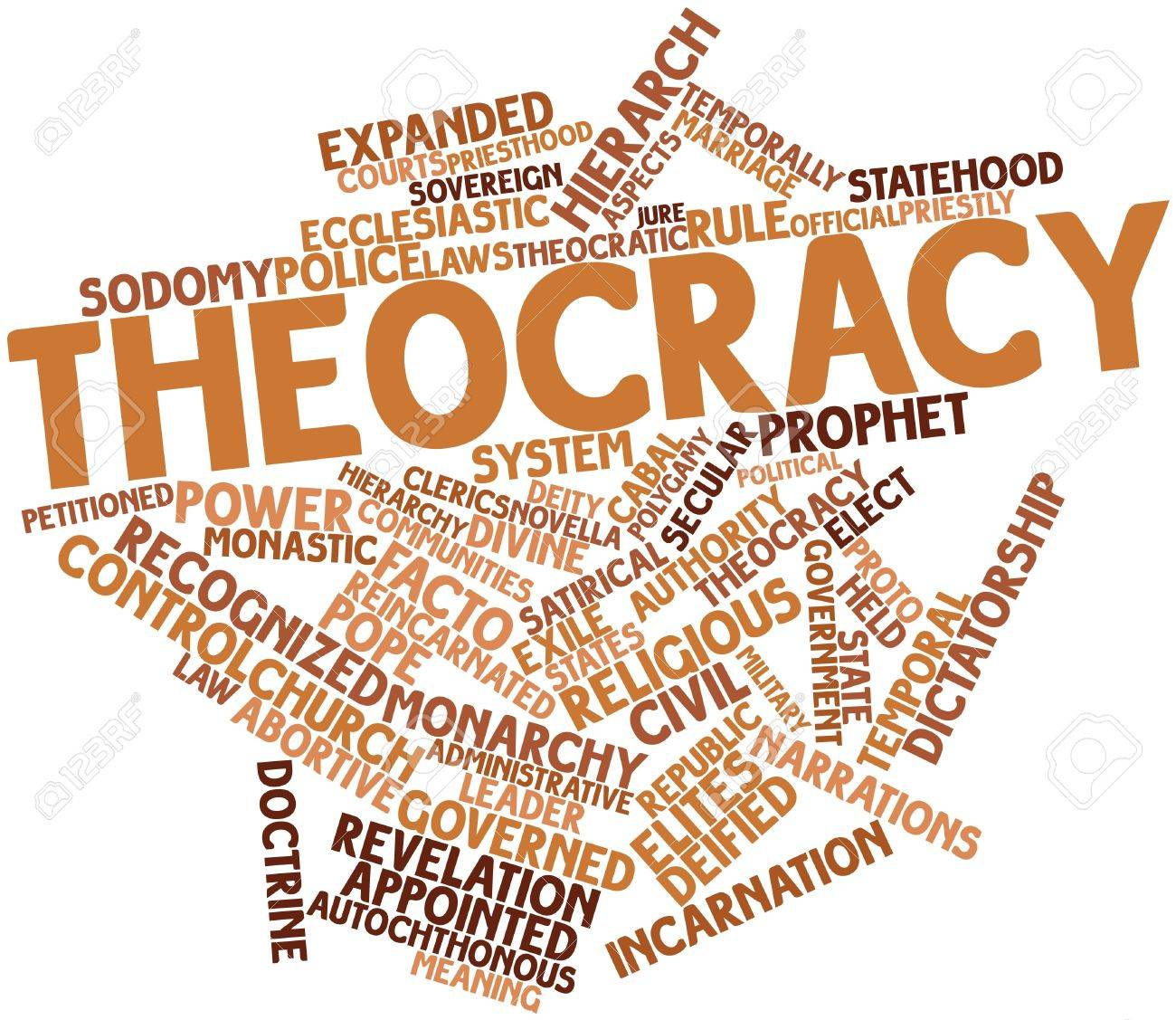 Abstract word cloud for Theocracy with related tags and terms Stock Photo - 16617578