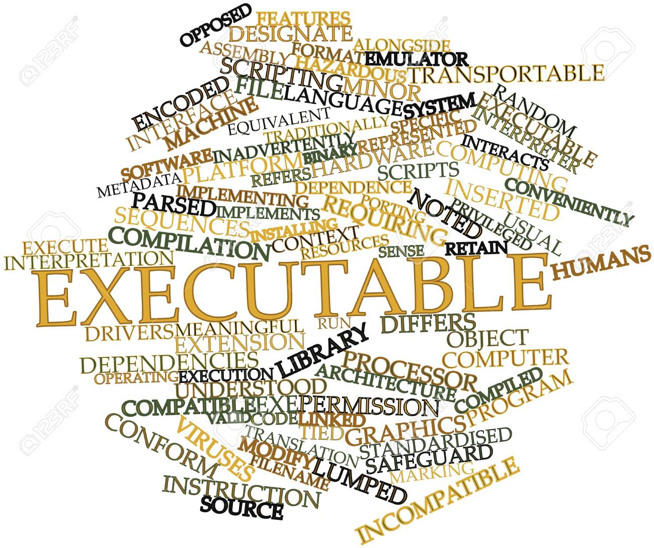 Abstract word cloud for Executable with related tags and terms Stock Photo - 16629309